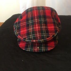 Vintage Tartan Plaid Cap Hat With Ear Covers EUC